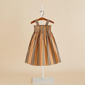 Verão novos vestidos infantis Mar vestidos de férias Meninas listrado coletes saias longas