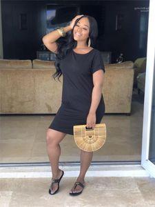 Женщин платья Sexy вокруг шеи женщин Bodycon Платья с коротким рукавом Карманный черный Дизайнер