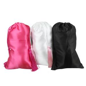 blanco en blanco, rosa, mujeres negras extensiones de cabello virgen de embalaje bolsas de satén de seda con borlas de lujo, pelo regalo empaqueta bolsas de embalaje