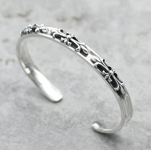 925 bracciali in argento sterling con mens e donne di stile punk di marchio di amanti del regalo monili di Hip Hop croce design di lusso