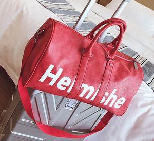 Qualidade high-end Moda Clássica Duffel Bags Homens Sacos de Viagem Grande Capacidade Holdall Carry On Baggage Overnight Weekender Bag 45cm
