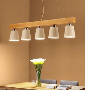 Pendentif lumières modernes Wood LED Cuisine lumières LED lampe salle à manger suspendue plafonniers Makaron Fixtures d'éclairage japonais pour une table longue