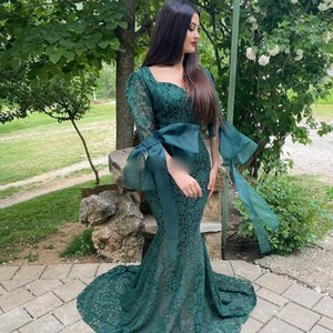 Elegant Lace Mermaid Prom Dresses Sweet Heart Puff Sleeve Sweep Train Big Bow Illusion Long Formal Evening Party Gowns