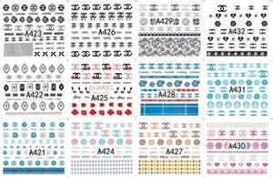 Salon Etiqueta Nails Art Decals Marca Logo Padrão Água Transferências etiqueta do prego DIY Nail Art Tips Decoração 12Designs / Lot