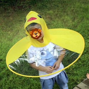 Bambini svegli anatra Raincoat UFO cappotto di pioggia dei bambini dell'ombrello creativo Magical Hat Mani Raincoat Anatra Carino ingranaggio della pioggia K1166 G