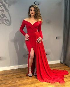 Элегантный красный Боковые Сплит Русалка Вечерние платья с плеча Длинные рукава мантий выпускного вечера официально платья для особых случаев платье