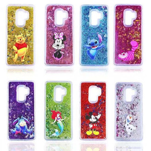 Mignon Dynamic Cartoon Gel Glitter Quicksand liquide bling étoile TPU PC Phone Case Cover Shell pour Samsung S6 S7 S8 S9 bord plus Note 8 Note 9