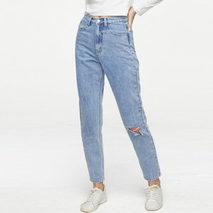 Ripped Mom Jeans-Frauen arbeiten hohe Taillen-Jeans Light Blue Denim-Hose mom cintura alta Vintage Plus Size