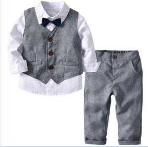 Ragazzini vestiti del bambino per bambini formali Abiti Blazer per Gentleman Matrimoni 3pcs dei ragazzi del costume Blazer Bambino Cotone Blazer Imposta Jacket