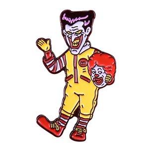 Spilla attore clown orribile distintivo grin Magia accessorio Halloween horror cappello zaino spilla