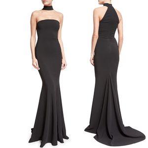 BacklakeGirls 2019 Robe sexy en satin Halter Longuette soirée manches noir uni pour femmes robe de soirée de