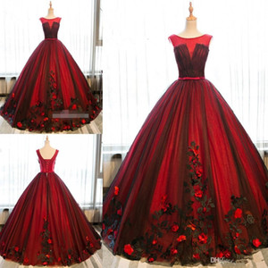 2020 New Black and Red Ball Vestido Quinceanera Vestidos Ocasião Vestidos Tulle doce 16 Lace Up 3D Partido Flores Prom vestidos especiais