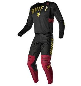 Meksika sonsuz SHIFT 3lack off-road motosiklet formaları ve pantolon KIRMIZI ALTIN ATV BMX Moto dişli seti motosiklet giyim MX Combo