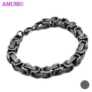AMUMIU سلسلة البيزنطية سوار الذهب للرجال أسود فضي اللون الفولاذ المقاوم للصدأ الرجال أساور مجوهرات B090