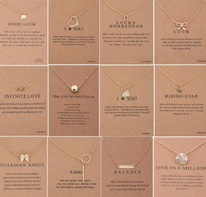 60 estilos Dogeared choke collar con tarjeta de color de plata de oro buena suerte elefante colgante Noble gargantilla regalo de Navidad de San Valentín 30 unids