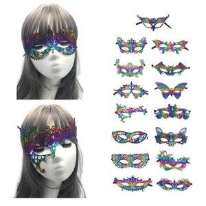 Sexy Lace Maskerade-Schablonen-Frauen-Tanz-Spitze-Maske Kreative Bunte Bronzing Spitze Augenmaske Festival-Party-Zubehör