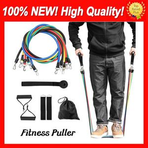 11pcs / set-Widerstand-Bänder Set Training Exercise Yoga-Schlauch Pull Seil Gummi-Expander-Latex Elastische Bänder Fitnessgeräte Pilates Workout