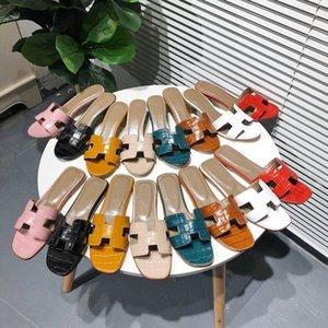 avec diapositives Hermes concepteur boîte vraies femmes pantoufles cuir pantoufles? Lock luxe mule plat pour les femmes sandales cadenas tongs plat