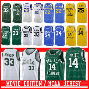 Michigan State Spartans # 33 Earvin Johnson PODER MEMORIAL LEW Alcindor Bel-Air Academy Filme Jersey Lincoln PODER MEMORIAL LEW Alcindor Z9