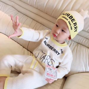 4 개 아기 니트 스웨터 아기 소년 소녀 장난 꾸러기 0-24 개월 스타 모자 코튼 긴 소매 가을 겨울 유아 부드러운 죄수 복
