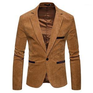 Sleeve Mens Corduroy Blazer Fashion Single Button Solid Color Mens Suits Jacket Spring Male Apparel V Neck Long