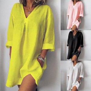 Женщины Свободные платья Повседневная Pure Color V шеи с длинными рукавами летнее женское платье # 30 MX190727
