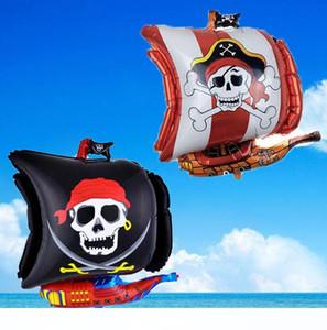 Pirate Ship forma Halloween Party Balões Foil Crânio Crossbones Foil Balloon pirata DIY decorações crianças presentes brinquedo
