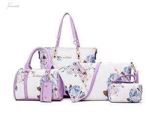 Pelle nuovi arrivi 6Pcs Set di modo delle donne borse Stampe Pu Composite Pochette Set Large Shoulder Bag borsa femminile