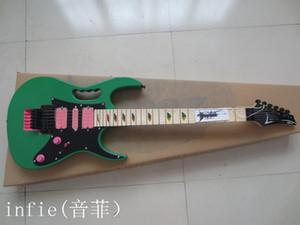 Trasporto libero nuove chitarre calde JEM 7V colorato intarsio chitarra elettrica acero verde tastiera flyod rosa del tremolo della chitarra