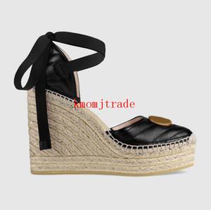 Femmes Designer Shoes New Version Plate-forme en cuir d'origine Espadrille Palmyre cuir Plate-forme Chaussures Espadrilles à semelles compensées cheville-cravate