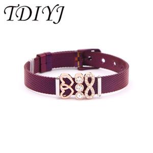 TDIYJ Hologram Endless Love Wedding Party Jewelry Bracciale in maglia di acciaio inossidabile viola per gioielli da donna Regalo 1Set