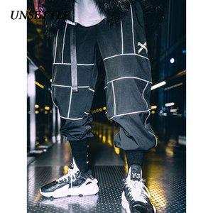 UNSETTLE Harajuku Pant Joggers Hip Hop Pantalones japoneses reflectantes Streetwear Pantalones de chándal finos