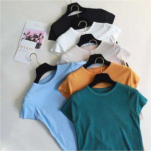 EZSSKJ básica de punto mujeres de la camiseta de manga corta de verano camiseta alta elasticidad Mujer de la camiseta o-cuello de la parte superior del cultivo sólido ocasional