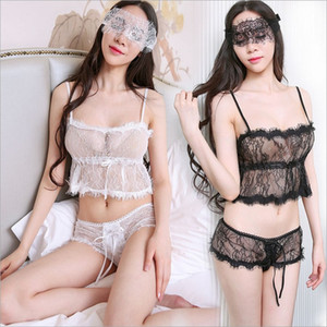 Envío gratis nueva lencería sexy cosplay en blanco y negro hueco malla transparente gasa tentación de tres puntos de pestañas de encaje dividida pijamas sexy