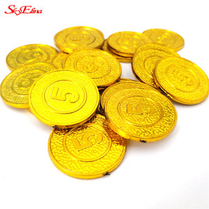 50pcs Number 5 Plastic Gold Coins Christmas Props Children Games Toys Home Decor Ornaments Non-currency Coins 7ZHH270