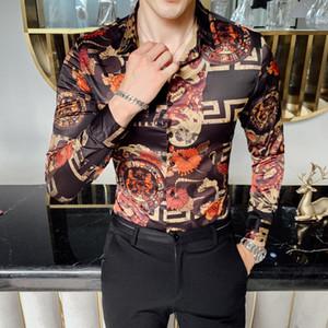sosyal Günlük erkek için Moda medusa gömlek 2019 yeni erkek Noel smokin gömlek dar kesim uzun kollu baskı elbise