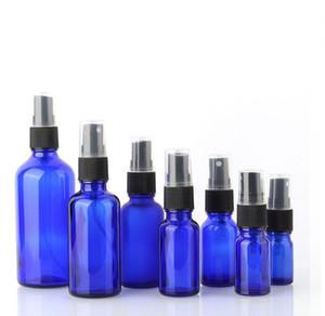 5 10 15 20 30 50 100ML Glass Spray Bottle, Perfume Atomizer -Refillable Empty Cobalt Blue Bottles with Black plastic Fine Mist Sprayers