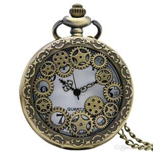 Dişli Hollow Steampunk Kuvars Pocket Watch Antik Bakır Kolye Zinciri Erkekler Kadınlar için Yeni Varış 2018 Sıcak relojes de bolsillo