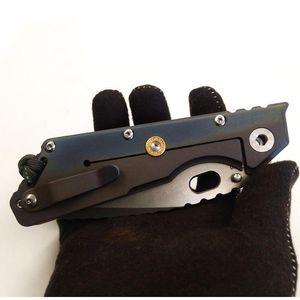 "Best EDC Mick Strider Custom MSC XL #9 Tanto Knife Colored Titanium Handle 4.25"" Stonewashing S35VN Blade Nightmare Folding Knife Tools"