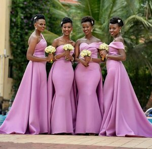 2020 Modern African Sweetheart Neck Satin Mermaid Bridesmaid Dresses With Detachable Train Floor Length Plus Size Maid Of Honor Dresses
