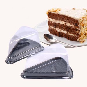 10PCS Dreieck Kuchen Box Kunststoff-Sandwich-Verpackung Kuchen Kästen Kunststoffverpackungs-Kasten Geschenk Bäckerei Verpackung (Schwarz)