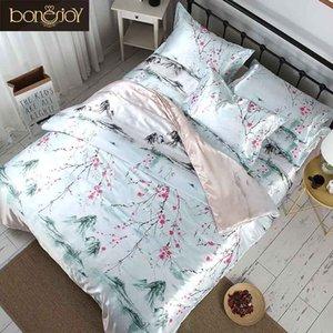 Bonenjoy hoja de estilo chino de ropa de cama de satén de seda plana verano usa ropa de cama impresa flor Sistemas del lecho cama matrimonial lino