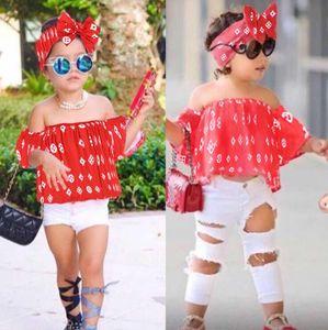 Baby-Mädchen Kindkleidung gesetzte Art und Weise Bogen Hairband + Ein Wort Schulter Top + Loch Hose-Kind-Designerkleidung für Baby-Kind-Kleidung 3pcs Sets
