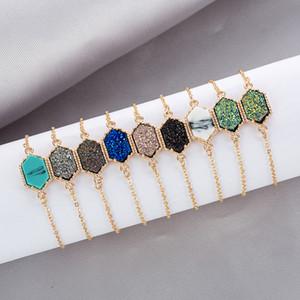 progettista di lusso Druzy filo braccialetto faux dei braccialetti di fascino di pietra naturale geometriche per il regalo gioielli di moda le donne s