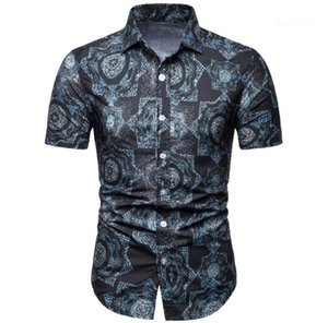À manches courtes Chemises Hot ventes Mens Plus Size Hommes Tops Bohe imprimés Floral Shirts Fashion Basic style