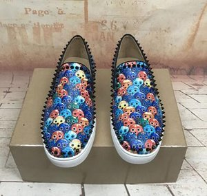 Pelle blu Python con graffiti punta rotonda inferiore rossa Oxfords Uomini Pik barca Spikes piatto serata perfetta Party Dress Gentleman fannulloni Marca