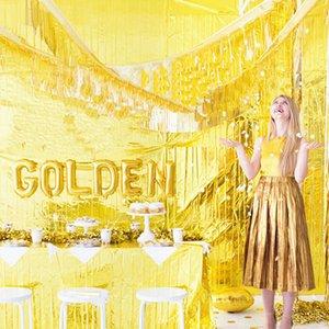 35*120cm Gold Foil Fringe Curtain Tinsel String Shiny Shimmer Tassel Wedding BirthdayWall Door Decoration Photo Booth Backdrop
