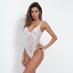 새로운 섹시한 레이스 거즈 스티칭 몸 마른 여성의 몸 정장 깊은 V 넥 슬림 한 옷을 빌려 드롭 배송
