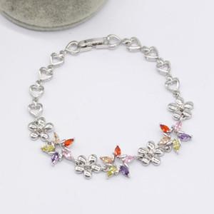 BRACCIALE braccialetto della pietra preziosa pietra di cristallo d'argento placcato con monili variopinti zircone pietre di moda per le donne