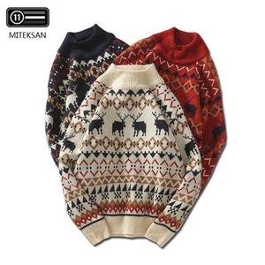 MITEKSAN nueva Navidad de los hombres suéter tejido de punto Impreso ciervos Streetwear Jersey Tire Homme La mitad de cuello alto suéter de la vendimia Hombre Joker CJ191209